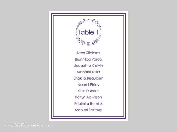 Wedding Seating Chart Template 5x7 Elegant by MyExpressionShop - chart template