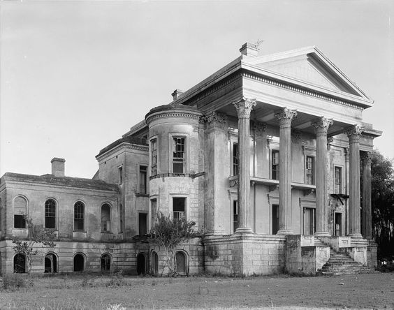 Front of Belle Grove , one of the grandest plantation homes ever to exist. Built in Iberville Parish, Louisiana between 1852-1857 for the cost of $80,000, it is said to be the largest mansion ever built in the South. Abandoned in 1925. Destroyed by mysterious fire in 1952.