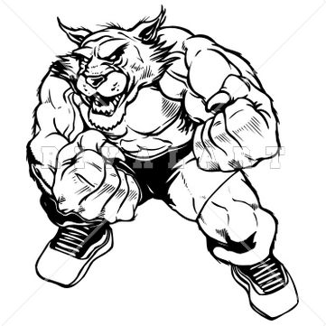 Mascot Clipart Image of Wildcats Bobcats Fighter Graphic Black White Mascot Boxer Boxing