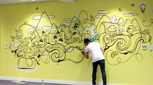 21 incredibly cool design office murals Office mural and Creative