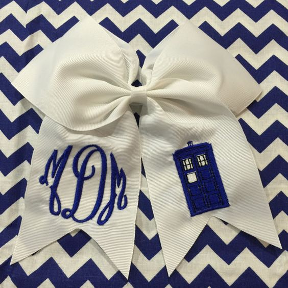Large Boutique Dr. Who Tardis Police Box Hair Bow by heatherskiba