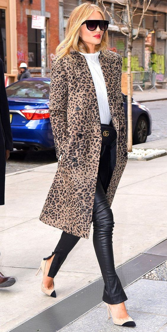 Affordable Celebrity Outfits: Looks for Less - Rosie Huntington Whiteley in a leopard coat
