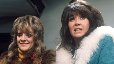 Beryl (Polly James) and Sandra (Nerys Hughes) of The Liver Birds. Sandra was seen as the height of glamour.