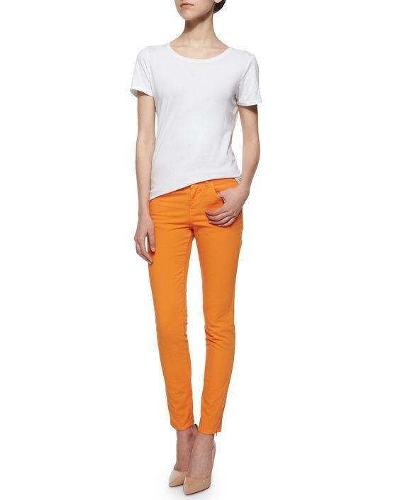 Zip-Cuff Skinny Ankle Jeans, Orange