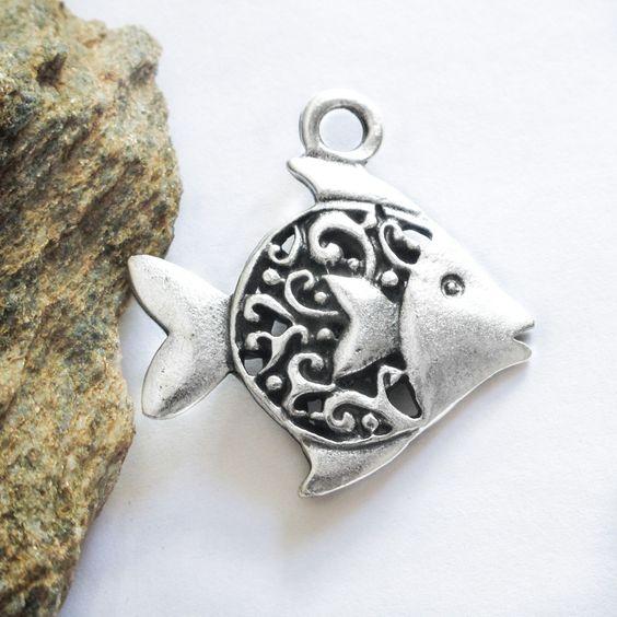 Greek Mykonos Casting Fancy Fish Pendant, Pewter Metal Bead Large Charm Silver Plated Beach wedding favor craft supplies (1 piece)