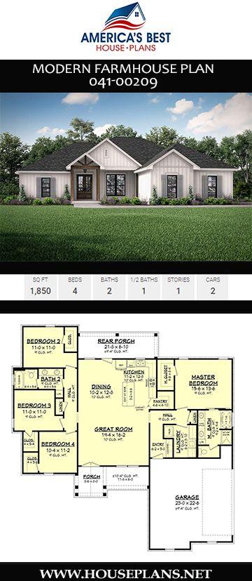 House Plan 041 00209 Modern Farmhouse Plan 1 850 Square Feet 4 Bedrooms 2 Bathrooms Modern Farmhouse Plans House Plans Farmhouse Ranch House Plans