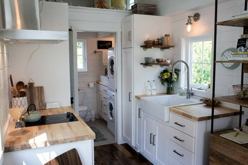 Tiny House Kitchen And Bathroom With Washer Dryer More Pix If