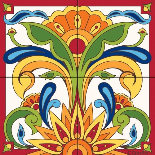 Tile Mural Blue Talavera Design Floral Tiles Decorative Tile Tile Murals