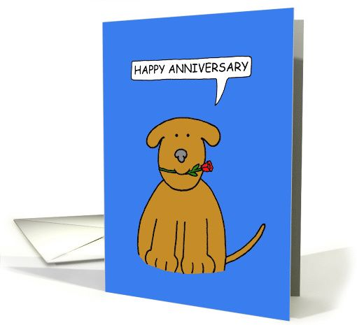 Happy Anniversary To Parents Of Dog Cartoon Brown Dog Card