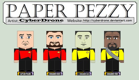 """Paper Pezzy - Star Trek by CyberDrone on deviantART - printable patterns for MANY 3-D paper """"pezzies"""" and """"cubees"""" on this website"""