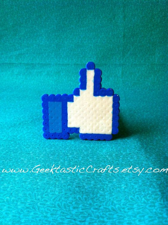 Facebook Like Button Pin Perler Bead Pin by GeektasticCrafts, $2.99: