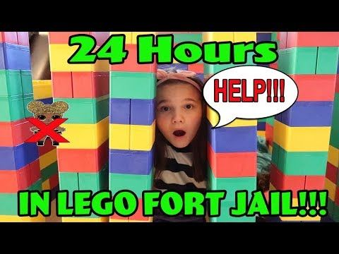 24 Hours In Giant Lego Fort Jail 24 Hours With No Lol Dolls