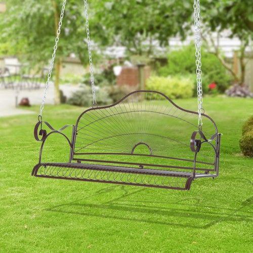 Outsunny Hangebank Gartenschaukel Mit Ketten Metall Braun