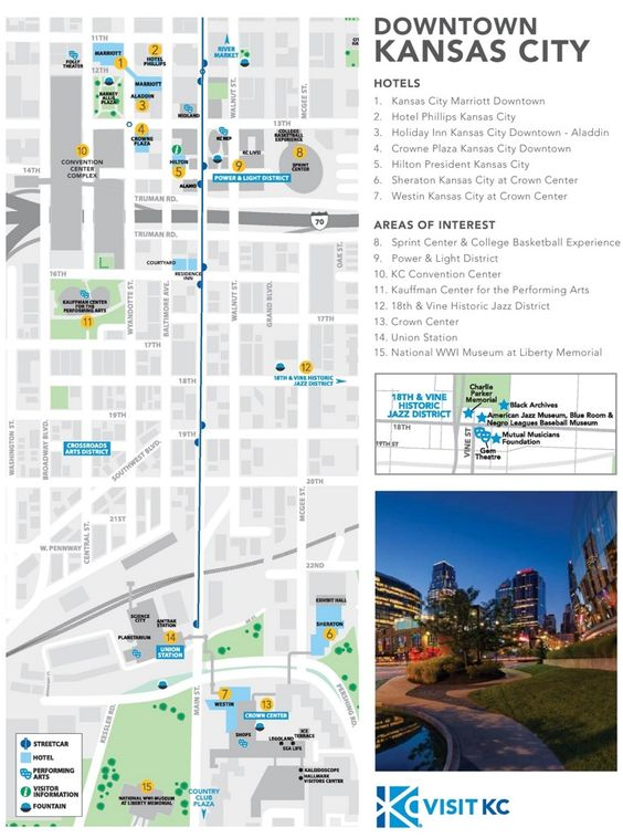 Kansas City Hotels And Sightseeings Map Maps Pinterest Usa Cities