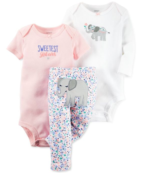 Carter's Baby Girls' 3-Pc. Elephant Bodysuits & Pants Set
