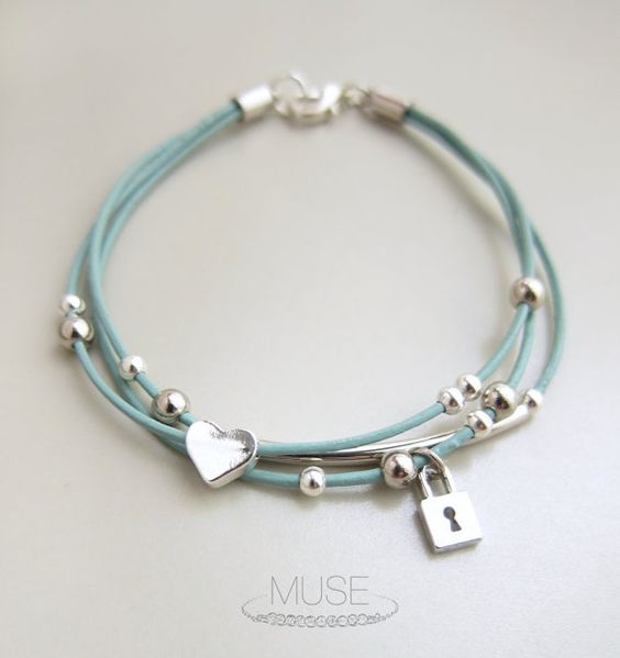 Silver Charm Leather Bracelet Layered Bracelet Charm by MuseByLAM, $22.00