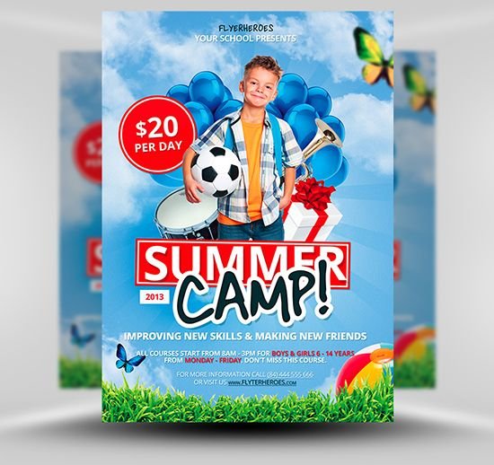 Free summer camp flyer template free psd photoshop flyer poster template flyerheroes for Flyerheroes free