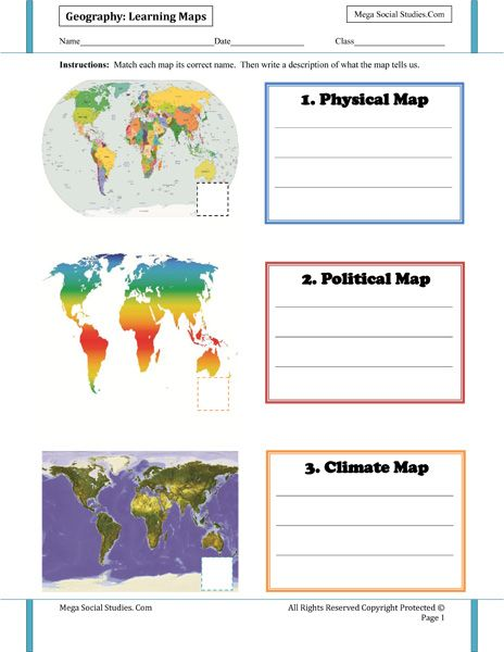 Printables Physical Geography Worksheets learning maps for kids political map physical climate map