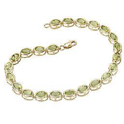 14kt Yellow Gold 6x4mm Oval Shape Peridot Bracelet
