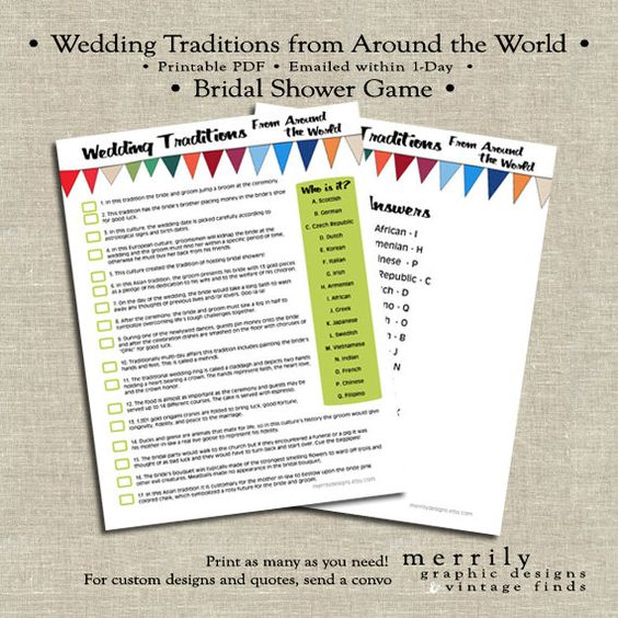 Wedding Traditions From Around The World Bridal Shower Game Multi Color Game Instant Download