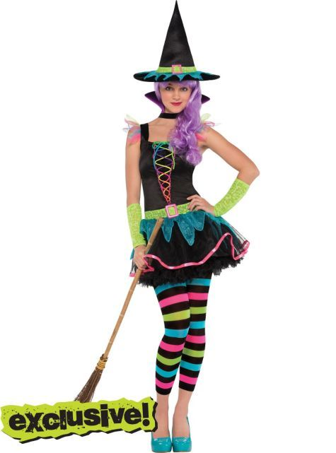 Teen Girls Neon Witch Costume - Party City