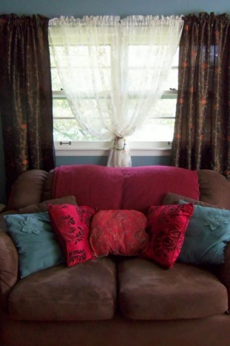 New color combination living room with muted aqua walls - Brown suede living room furniture ...