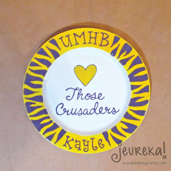 School Pride Personalized Plate with Zebra Rim  by JeurekaDesign, $37.00
