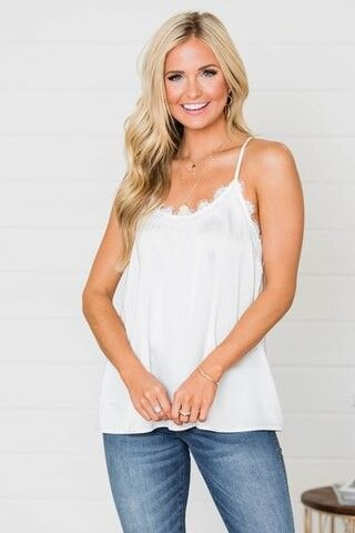 Precious To My Heart Ivory Lace Tank