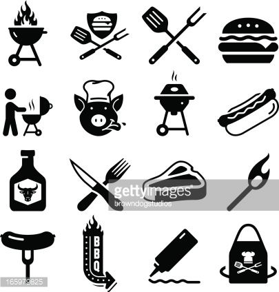 BBQ, grilling, and tailgating icon set. Professional clip ...
