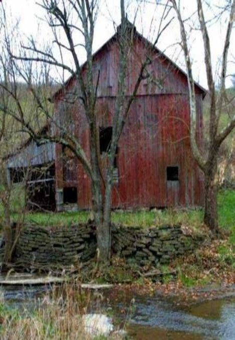 Sunnybrook Farm: #Sunnybrook #Farm ~ Old red barn and stone wall.:
