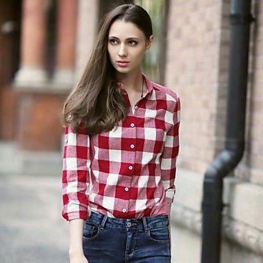 Veri+Gude®+Women's+Button-Down+Collar+Long+Sleeve+Plaid+Autumn+Shirt+–+USD+$+24.59