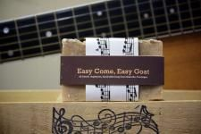 """Easy Come, Easy Goat"" contains a generous helping of goat's milk, blended with powdered oatmeal and honey. This soap is great for fans with sensitive skin. It contains no added colorant or scent (but the ingredients come together to make the bar smell just like breakfast). MEMBER - MusicCitySuds"