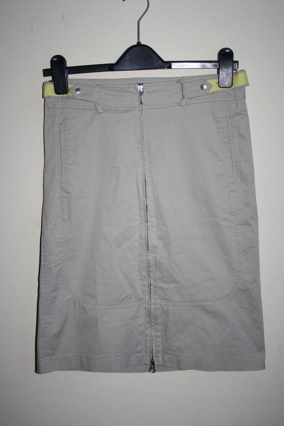 Mexx Fashion Designer Woman's Denim Zip Up Cargo Skirt Grey Belt Cotton B Size 8…