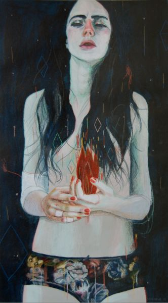 """""""The worst part about anything that's self destructive is that it's so intimate. You become so close with your addictions and illnesses that leaving them behind is like killing the part of yourself that taught you how to survive."""" —Lacey L. painting by Leonardo Santamaria"""