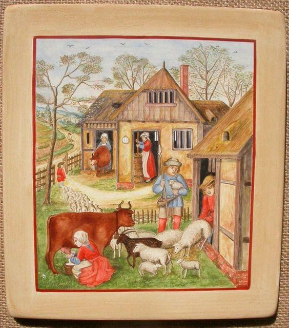 """""""La laiterie"""", d'après le """"Livre d'Heures des Da Costa"""" - Flandres - vers 1515"""