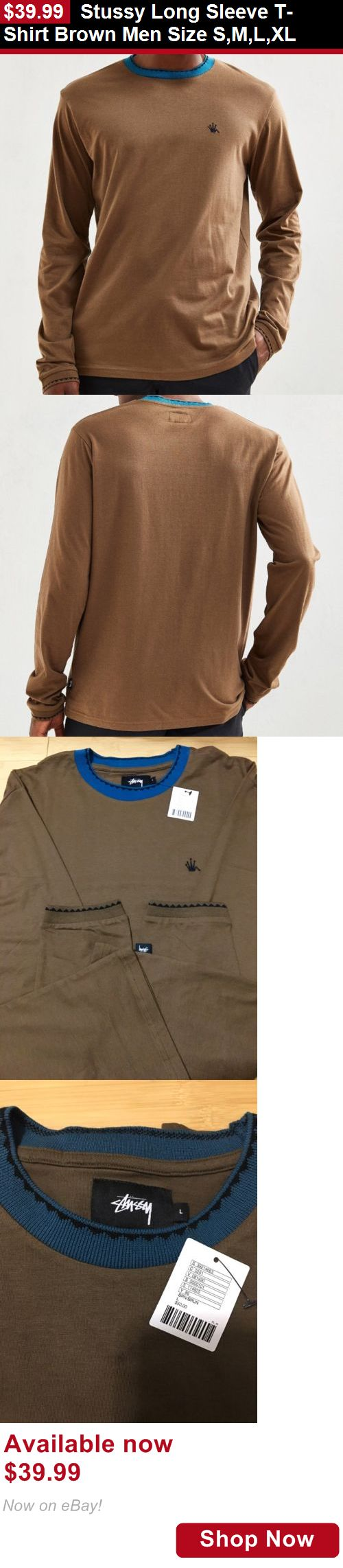 Men clothing: Stussy Long Sleeve T-Shirt Brown Men Size S,M,L,Xl BUY IT NOW ONLY: $39.99