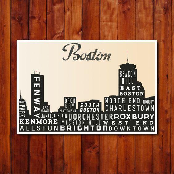 Boston Skyline Print, Typography Poster, Retro Wall Art,  Modern Home Decor - 12x18. $30.00, via Etsy.