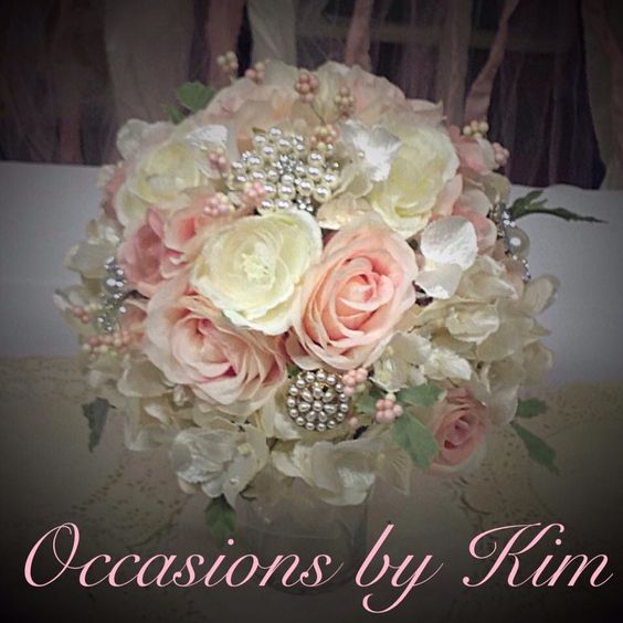 Shabby chic wedding bouquet...made it for my daughters wedding!