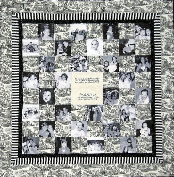 LOVE this black and white themed photo quilt in block design: