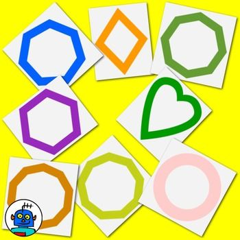 Common Worksheets shapes heptagon : Clip Art for Shapes - Color and b/w png files | Heart, Hexagons ...