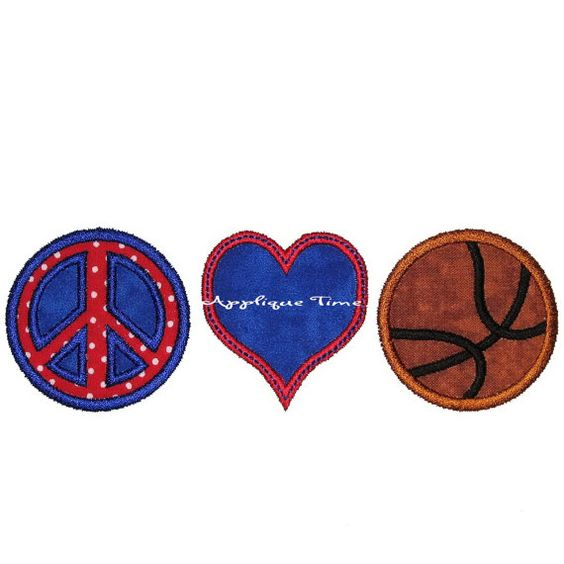 Peace Love & Basketball Machine Embroidery by appliquetime on Etsy, $2.50