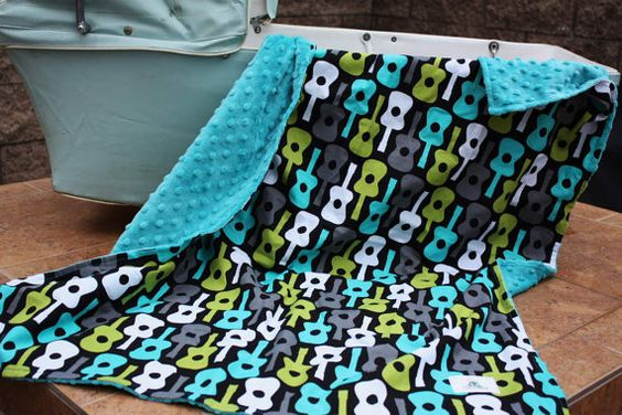 Love it! Baby Stroller Blanket  Groovy Guitars in Lagoon with by notybaby, $40.00