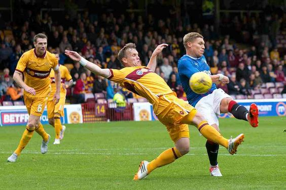 Motherwell 0 Rangers 2 in July 2016 at Fir Park. Martyn Waghorn fires home on 91 minutes in the Scottish League Cup.