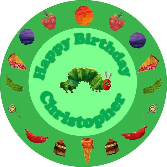 EDIBLE Hungry Caterpillar Cake Topper Round Personalized wafer paper childrens