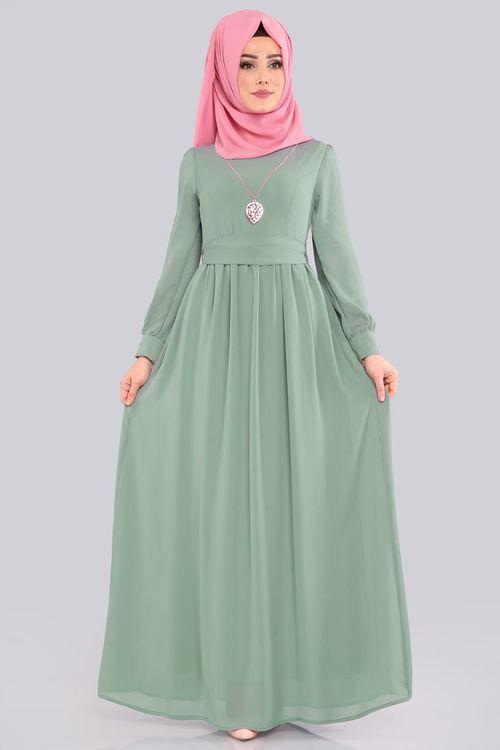 Modaselvim Elbise Kemerli Tesettur Elbise 3687 2mb205 Mint Muslimah Fashion Fashion Abaya Fashion