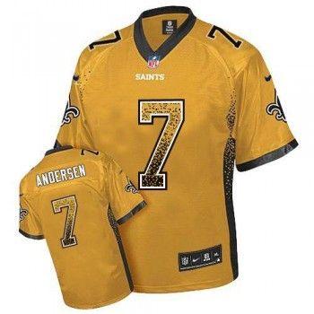 Nike Saints #7 Morten Andersen Gold Men's Stitched NFL Elite Drift Fashion Jersey,cheap nfl jersey,wholesale nfl jerseys. Only $16.98