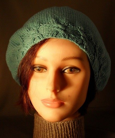 Hand Knit Cotton and Wool Slouched Beret by djfleesh on Etsy #‎craftshout0211‬ #blueberet #instocknow