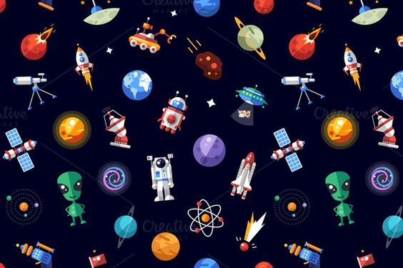 Flat Design Space Icons Pattern by Decorwith.me Shop on Creative Market