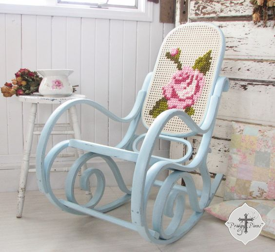 Upcycled Bentwood Rocker with lattice back and seat ~ paint and cross stich whatever design you want on the back :):