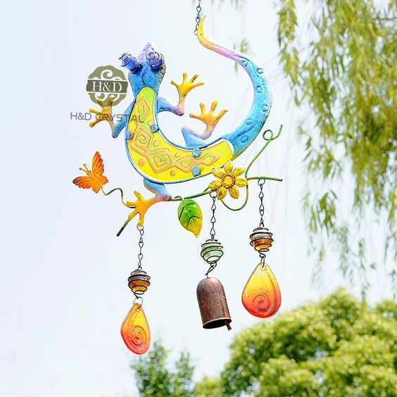 Blue Lizard Design Metal Suncatcher Gift Decorative Pendant Home&Garden Decoration Crafts Beautiful Hanging Wind Chimes